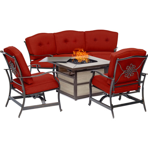 hanover-traditions-4-piece-fire-pit-square-kd-fire-pit-with-tile-crescent-sofa-2-cushion-rockers-trad4pcsqfp-red
