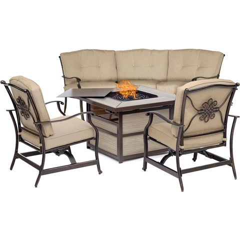 hanover-traditions-4-piece-fire-pit-square-kd-fire-pit-with-tile-crescent-sofa-2-cushion-rockers-trad4pcsqfp-tan