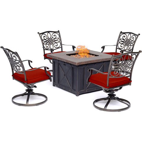 hanover-traditions-5-piece-fire-pit-4-swivel-rockers-and-durastone-fire-pit-trad5pcdsw4fp-red