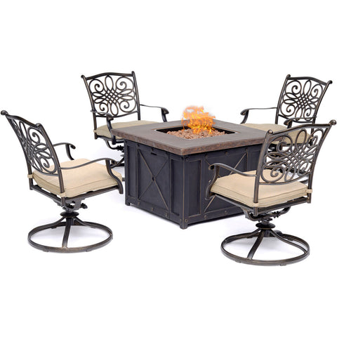 hanover-traditions-5-piece-fire-pit-4-swivel-rockers-and-durastone-fire-pit-trad5pcdsw4fp-tan