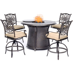 hanover-5-piece-high-fire-pit-set-4-swivel-chairs-48-inch-round-cast-top-fire-pit-table-trad5pcfprd-br
