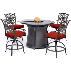 hanover-5-piece-high-fire-pit-set-4-swivel-chairs-48-inch-round-cast-top-fire-pit-table-trad5pcfprd-br-r