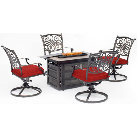 hanover-traditions-5-piece-fire-pit-4-swivel-rockers-rectangle-kd-fire-pit-with-tile-trad5pcrecsw4fp-red