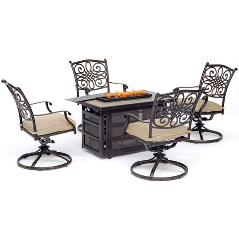 hanover-traditions-5-piece-fire-pit-4-swivel-rockers-rectangle-kd-fire-pit-with-tile-trad5pcrecsw4fp-tan