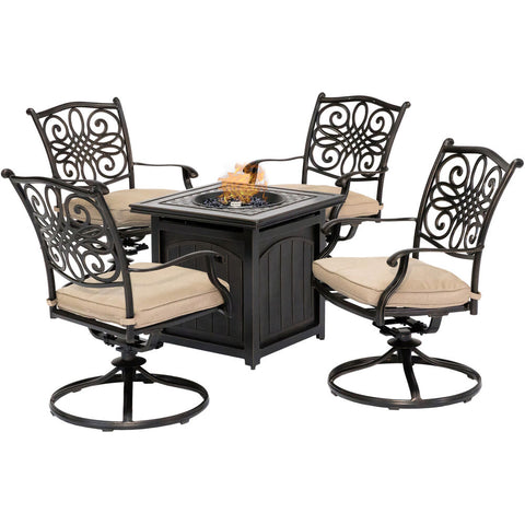 hanover-traditions-5-piece-4-swivel-rockers-and-26-inch-square-fire-pit-trad5pcswfpsq-tan