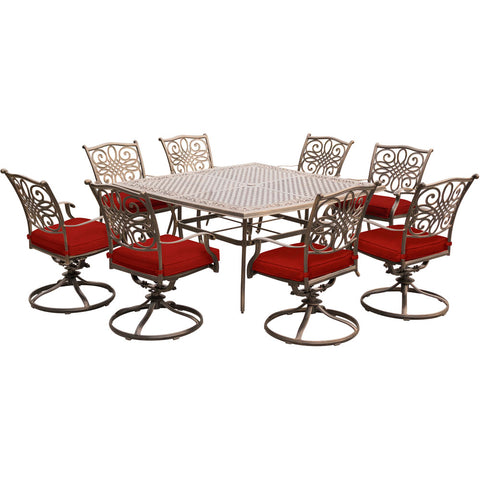 hanover-traditions-9-piece-8-swivel-rockers-60-inch-square-cast-table-trad9pcswsq8-red