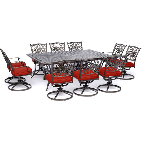 hanover-traditions-11-piece-10-swivel-rockers-60x84-inch-cast-table-traddn11pcsw10-red