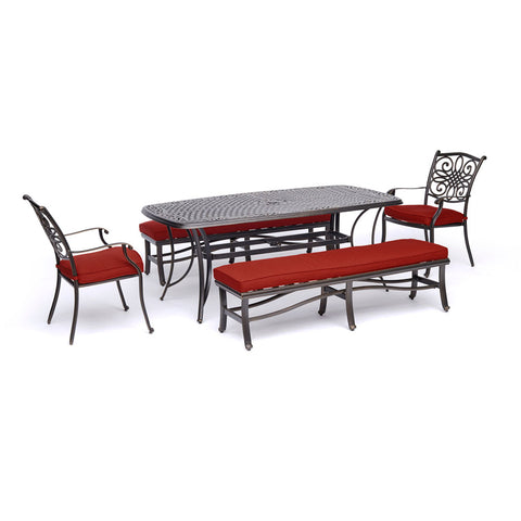hanover-traditions-5-piece-2-dining-chairs-2-backless-benches-38x72-inch-cast-table-traddn5pcbn-red