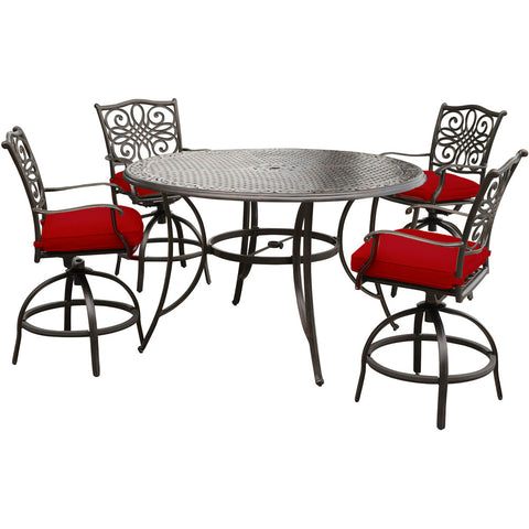 hanover-traditions-5-piece-4-counter-height-swivel-chairs-56-inch-round-cast-table-36-inch-height-traddn5pcbr-red