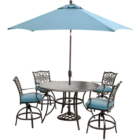hanover-traditions-5-piece-4-counter-height-swivel-chairs-56-inch-round-cast-table-36-inch-height-umbrella-base-traddn5pcbr-su-b