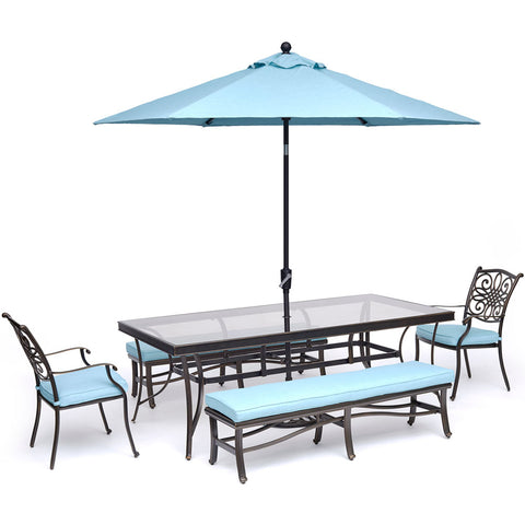 hanover-traditions-5-piece-2-dining-chairs-2-backless-bench-chairs-42x84-inch-glass-table-umbrella-base-traddn5pcgbn-su-b