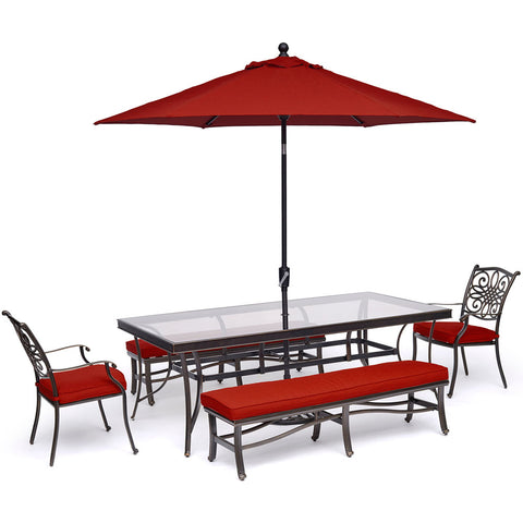hanover-traditions-5-piece-2-dining-chairs-2-backless-bench-chairs-42x84-inch-glass-table-umbrella-base-traddn5pcgbn-su-r