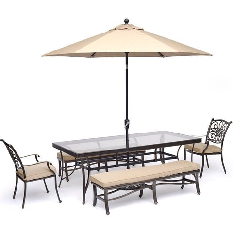 hanover-traditions-5-piece-2-dining-chairs-2-backless-bench-chairs-42x84-inch-glass-table-umbrella-base-traddn5pcgbn-su-t