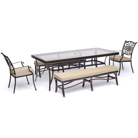 hanover-traditions-5-piece-2-dining-chairs-2-backless-benches-42x84-inch-glass-top-table-traddn5pcgbn-tan