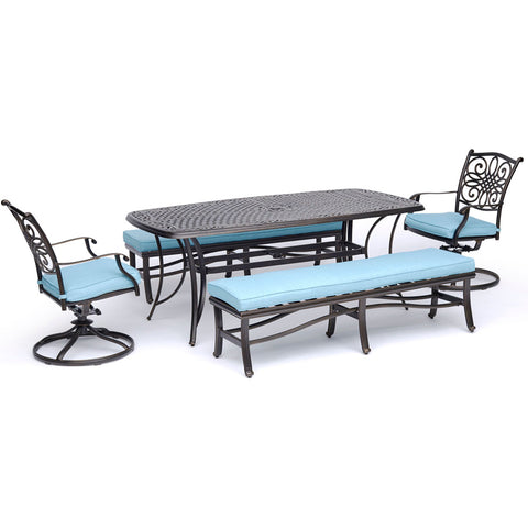 hanover-traditions-5-piece-2-swivel-rockers-2-backless-benches-38x72-inch-cast-table-traddn5pcsw2bn-blu