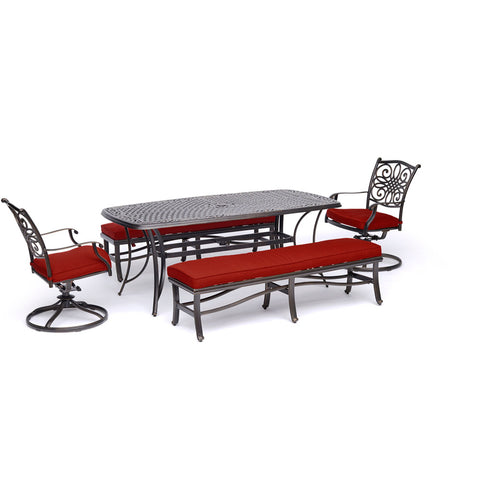 hanover-traditions-5-piece-2-swivel-rockers-2-backless-benches-38x72-inch-cast-table-traddn5pcsw2bn-red
