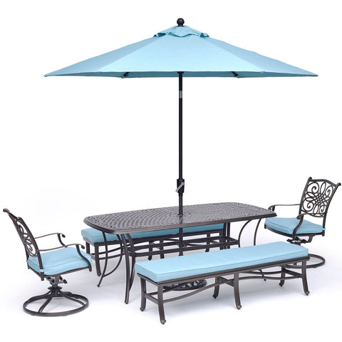 hanover-traditions-5-piece-2-swivel-rockers-2-backless-bench-chairs-38x72-inch-cast-table-umbrella-base-traddn5pcsw2bn-su-b