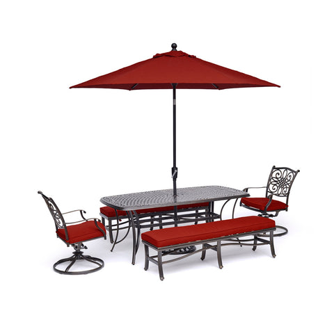 hanover-traditions-5-piece-2-swivel-rockers-2-backless-bench-chairs-38x72-inch-cast-table-umbrella-base-traddn5pcsw2bn-su-r