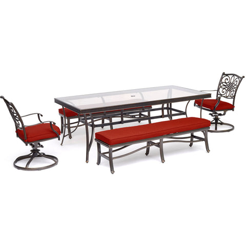 hanover-traditions-5-piece-2-swivel-rockers-2-backless-benches-42x84-inch-glass-top-table-traddn5pcsw2gbn-red