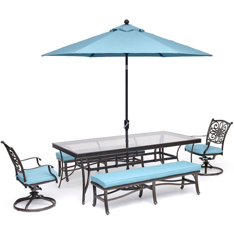 hanover-traditions-5-piece-2-swivel-rockers-2-backless-bench-chairs-42x84-inch-glass-table-umbrella-base-traddn5pcsw2gbn-su-b