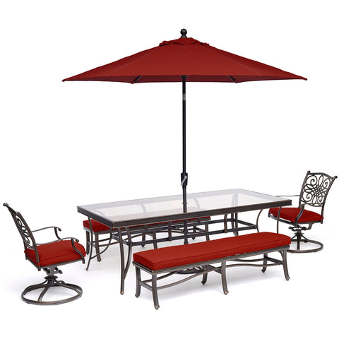 hanover-traditions-5-piece-2-swivel-rockers-2-backless-bench-chairs-42x84-inch-glass-table-umbrella-base-traddn5pcsw2gbn-su-r