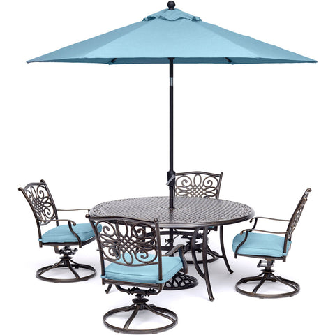 hanover-traditions-5-piece-4-swivel-rockers-48-inch-round-cast-table-umbrella-base-traddn5pcsw-b-su