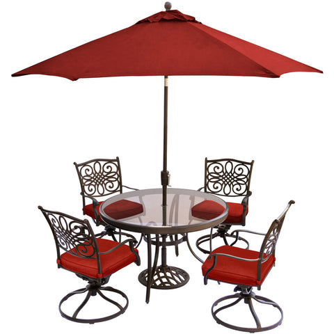 hanover-traditions-5-piece-4-swivel-rockers-48-inch-round-glass-top-table-umbrella-base-traddn5pcswg-su-r