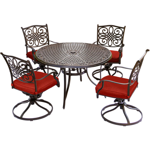 hanover-traditions-5-piece-4-swivel-rockers-48-inch-round-cast-table-traddn5pcsw-red