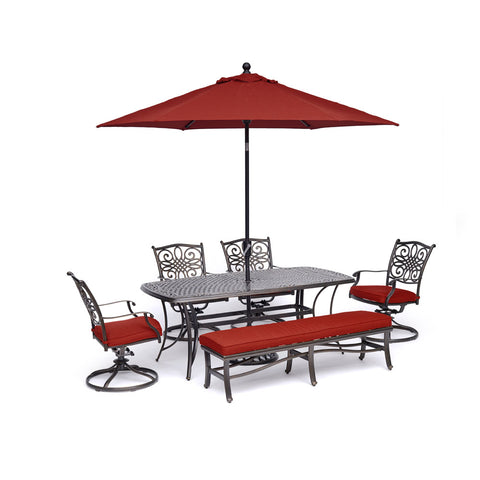 hanover-traditions-6-piece-4-swivel-rockers-backless-bench-chairs-38x72-inch-cast-table-umbrella-base-traddn6pcsw4bn-su-r