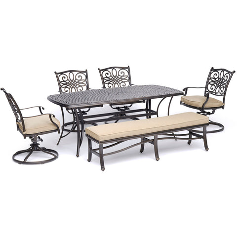 hanover-traditions-6-piece-4-swivel-rockers-backless-bench-chairs-38x72-inch-cast-table-traddn6pcsw4bn-tan