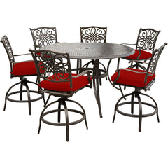 hanover-traditions-7-piece-6-counter-height-swivel-chairs-56-inch-round-cast-table-36-inch-height-traddn7pcbr-red