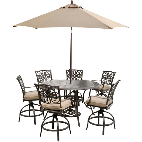hanover-traditions-7-piece-6-counter-height-swivel-chairs-56-inch-round-cast-table-36-inch-height-umbrella-base-traddn7pcbr-su