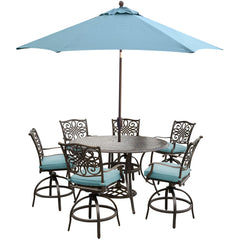 hanover-traditions-7-piece-6-counter-height-swivel-chairs-56-inch-round-cast-table-36-inch-height-umbrella-base-traddn7pcbr-su-b