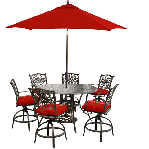 hanover-traditions-7-piece-6-counter-height-swivel-chairs-56-inch-round-cast-table-36-inch-height-umbrella-base-traddn7pcbr-su-r