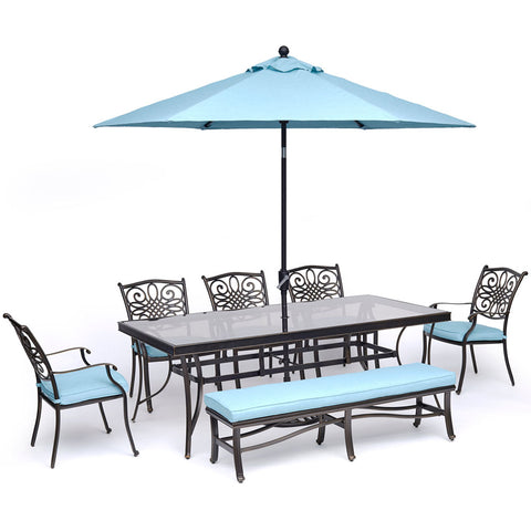 hanover-traditions-7-piece-5-dining-chairs-backless-bench-chairs-42x84-inch-glass-table-umbrella-base-traddn7pcgbn-su-b