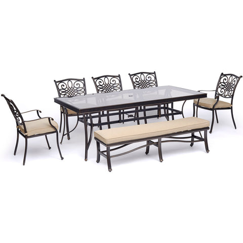 hanover-traditions-7-piece-5-dining-chairs-backless-bench-chairs-42x84-inch-glass-top-table-traddn7pcgbn-tan