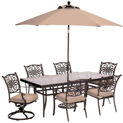 hanover-traditions-7-piece-4-dining-chairs-2-swivel-rockers-42x84-inch-glass-table-umbrella-base-traddn7pcsw2g-su