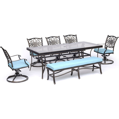 hanover-traditions-7-piece-5-swivel-rockers-backless-bench-chairs-42x84-inch-glass-top-table-traddn7pcsw5gbn-blu