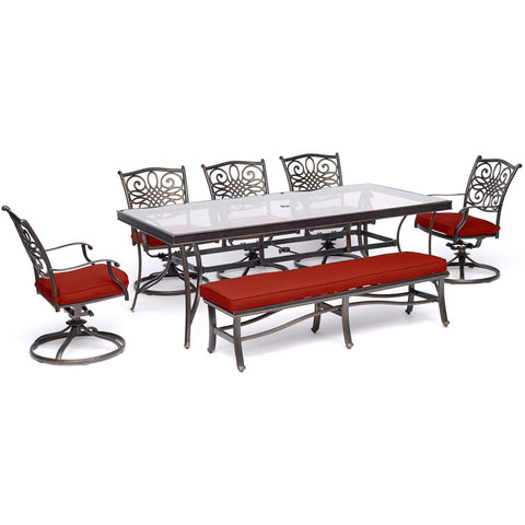 hanover-traditions-7-piece-5-swivel-rockers-backless-bench-chairs-42x84-inch-glass-top-table-traddn7pcsw5gbn-red