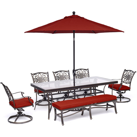 hanover-traditions-7-piece-5-swivel-rockers-backless-bench-chairs-42x84-inch-glass-table-umbrella-base-traddn7pcsw5gbn-su-r