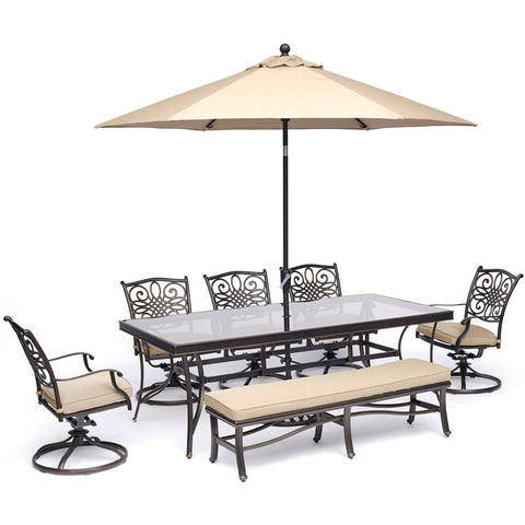 hanover-traditions-7-piece-5-swivel-rockers-backless-bench-chairs-42x84-inch-glass-table-umbrella-base-traddn7pcsw5gbn-su-t