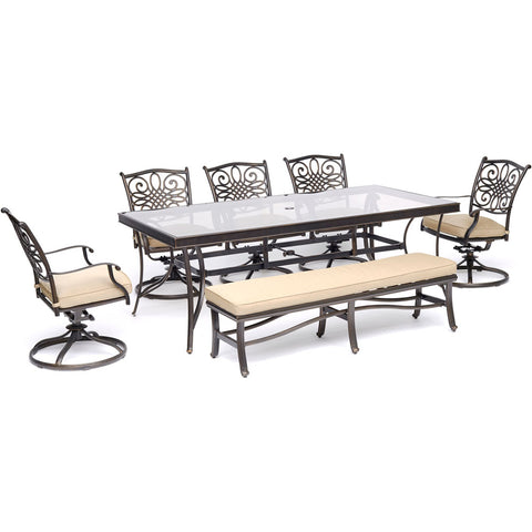 hanover-traditions-7-piece-5-swivel-rockers-backless-bench-chairs-42x84-inch-glass-top-table-traddn7pcsw5gbn-tan