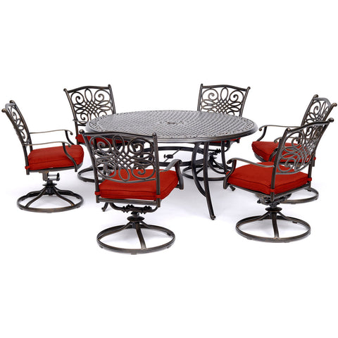 hanover-traditions-7-piece-6-swivel-rockers-60-inch-round-cast-table-traddn7pcswrd6-red