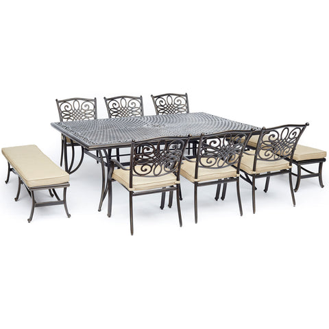 hanover-traditions-9-piece-6-dining-chairs-2-backless-bench-chairs-60x84-inch-cast-table-traddn9pcbn-tan
