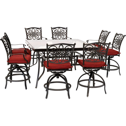 hanover-traditions-9-piece-8-counter-height-swivel-chairs-and-60-inch-square-glass-table-traddn9pcbrsqg-red