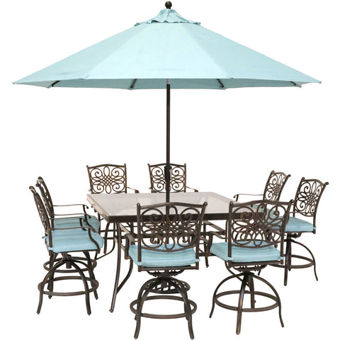 hanover-traditions-9-piece-8-counter-height-swivel-chairs-60-inch-square-glass-table-umbrella-and-base-traddn9pcbrsqg-su-b
