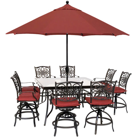 hanover-traditions-9-piece-8-counter-height-swivel-chairs-60-inch-square-glass-table-umbrella-and-base-traddn9pcbrsqg-su-r