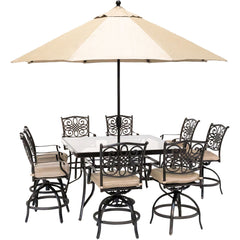 hanover-traditions-9-piece-8-counter-height-swivel-chairs-60-inch-square-glass-table-umbrella-and-base-traddn9pcbrsqg-su-t