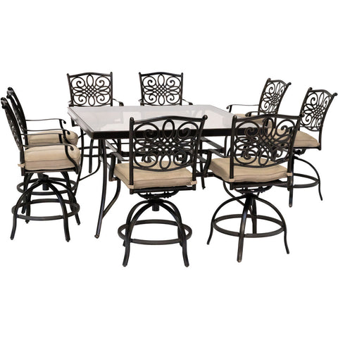 hanover-traditions-9-piece-8-counter-height-swivel-chairs-and-60-inch-square-glass-table-traddn9pcbrsqg-tan