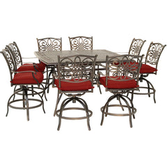 hanover-traditions-9-piece-8-counter-height-swivel-chairs-and-60-inch-square-cast-table-traddn9pcbrsq-red